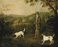 a gentleman out pheasant shooting with two pointers by clifton tomson