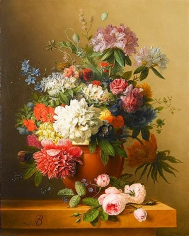 a still life of peonies roses honeysuckle poppies a crown imperial rhododendrons and other flowers in a terracotta urn on a ledge by arnoldus bloemers