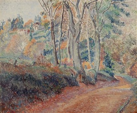 footpath in november greyshott by lucien pissarro