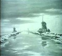 hollandische flusslandschaft im winter by l.v. allelen