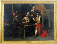 cardplayers in an interior by mathieu (le chevalier) le nain