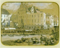 utsigt af petersénska huset vid munkbron by fredrik august (fritz) ahlgrenson
