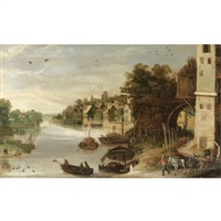 a village scene by a river, said to be a view of treviso by philips de momper the younger