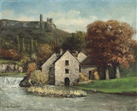 le moulin de scey-en-varais by gustave courbet