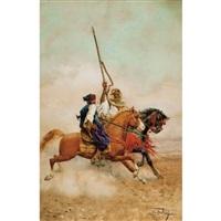 deux cavaliers arabes au galop by giulio rosati