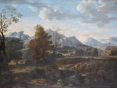 figures resting beside a lake before an italianate landscape by stefano pasero