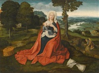 virgin and child seated before an extensive landscape by joachim patinir