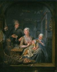 stillende in fischerladen by hieronymus van der mij