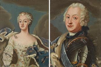 porträtt föreställande adolf fredrik och lovisa ulrika pair by jonas akerstrom
