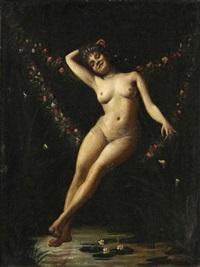 nu sur une guirlande de fleurs by rené vauquelin