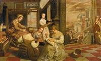 die stickerinnen - die madonna webt das tuch christi und andere szenen aus dem jugendalter der maria by lambert sustris