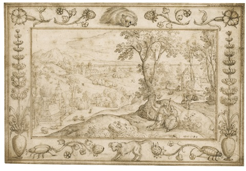 panoramic landscape with thamar and judith, within a decorative border by hans bol