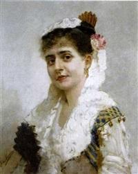 portrait de femme en buste by ernst friederich von liphart