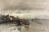 winterlicher fischmarkt am zugefroreren fluss by johann jungblut