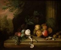bodegón de frutas nueces y fondo de paisaje by jan baptist fornenburgh