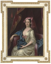 portrait of a lady in an oyster satin dress and a pink hat by henry pickering