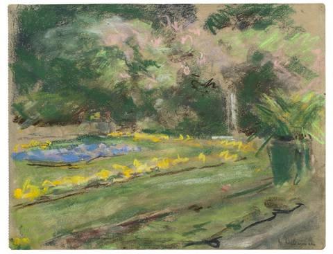 die blumenterrasse im wannseegarten nach nordwesten (from sketchbook) by max liebermann