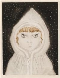 petite fille au capuchon sous la neige (from 'les enfants) by léonard tsuguharu foujita