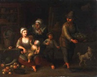 peasants preparing fruit and plucking birds in an interior by johann faber