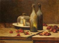 nature morte aux fraises et au fromage by léon charles huber