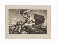 fire in the barnyard by thomas hart benton