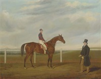 "a bay racehorse with jockey up, and his owner, on a racecourse (captain b. davies's ""merry lass"" with reed up, on brecon racecourse) by james loder of bath"