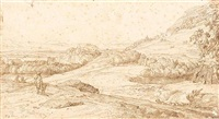 an extensive italianate landscape with a hunter, and a distant hilltop castle by jacob esselens