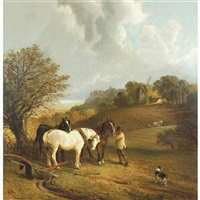 Sussex landscape with horses and ploughman, 1879