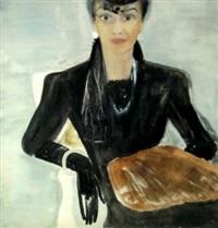 dame in schwarz mit muff by marguerite ammann