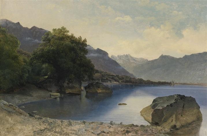 petite baie du lac léman près de chillon les dents du midi en arrière plan by alexandre calame