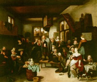 an interior scene with peasants dancing and a hurdy gurdy player by hendrik (h.) de valk