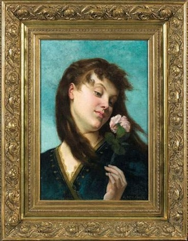 femme à la rose by gustave clarence rodolphe boulanger