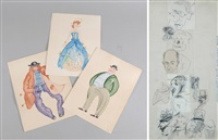 personnages, study (+ 3 others, various sizes; 4 works) by nikolai pavlovich akimov
