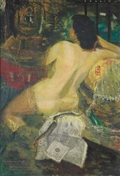 nude and the snake by s. sudjojono