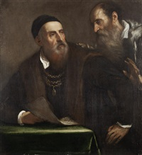 portrait of titian and his friend francesco zuccato by titian (tiziano vecelli)