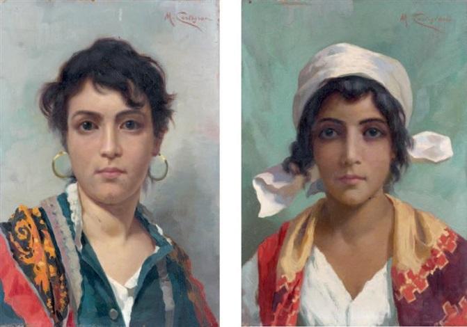 portrait de femme aux boucles doreilles portrait de jeune fille coifee dun foulard blanc pair by michele cortegiani