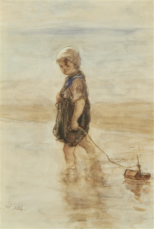 a young girl with a toy boat by jozef israëls