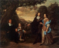 a portrait of a couple standing in a landscape with a man seated near a tree and a boy walking behind by daniel haringh