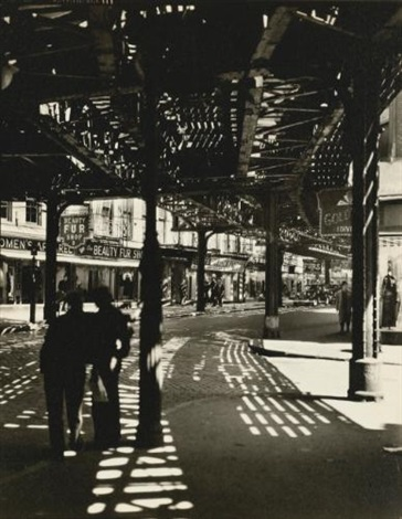el second and third avenue lines bowery and division street by berenice abbott