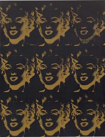 nine gold marilyns (reversal series) by andy warhol