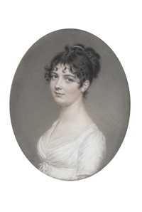 miss e. kent, wearing white dress with gauze fill-in, her hair upswept and dressed with a strand of pearls by john smart