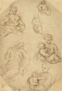 studies of the madonna and child with a subsidiary study for a lamentation by jacopo palma il giovane