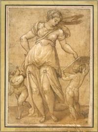 sybille en pied avec deux amours dont l'un tenant une tablette by orazio samacchini