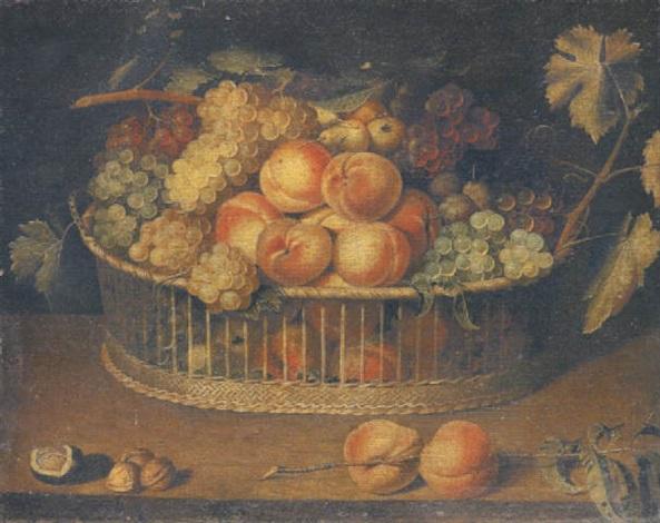 corbeille de pêches raisins et prunes sur un entablement by paul dorival