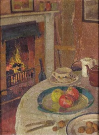 still life by the fire by william ratcliffe
