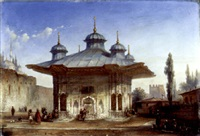 sultan ahmet iii's fountain by the entrance to topkapi sarayi, constantinople by etienne raffort
