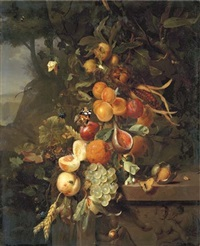 peaches, apricots, grapes, oranges, blackberries, sheafs of corn and a pomegranate on a plinth with a sculpted relief, with butterflies, a snail and a ladybird, in a mountainous landscape by jan mortel