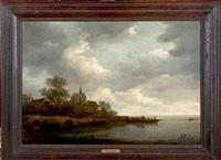 paysage fluvial avec un bac by adriaen van der cabel