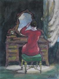jeune femme au miroir by georges ascher