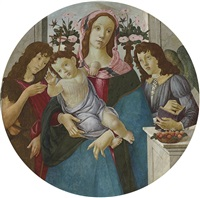 the madonna and child with two angels by sandro botticelli